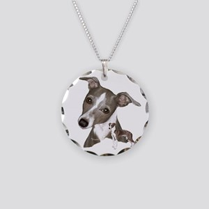 Italian Greyhound art Necklace Circle Charm