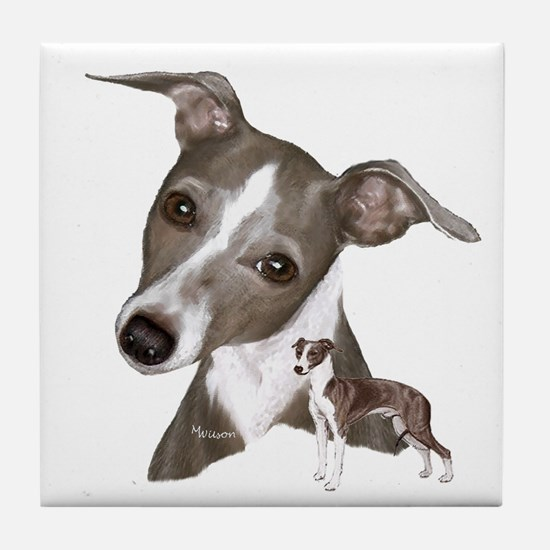 Italian Greyhound art Tile Coaster