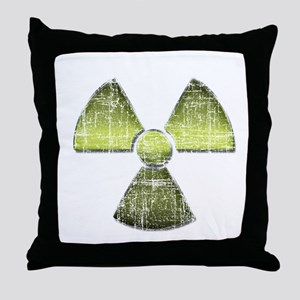 Vintage Radioactive Symbol 3 Throw Pillow