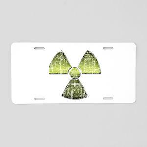 Vintage Radioactive Symbol 3 Aluminum License Plat