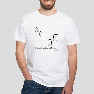 Hipster Album Cover. Penguins White T-Shirt