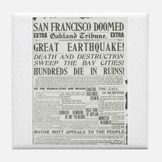 Oakland Tribune 1906 SF Earthquake Tile Coaster