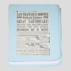 Oakland Tribune 1906 SF Earthquake baby blanket