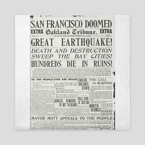 Oakland Tribune 1906 SF Earthquake Queen Duvet