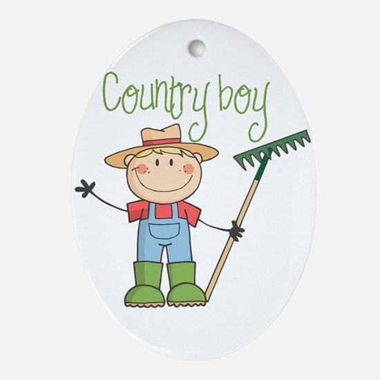 Country Boy Farmer Ornament (Oval)