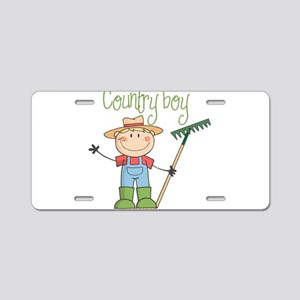 Country Boy Farmer Aluminum License Plate