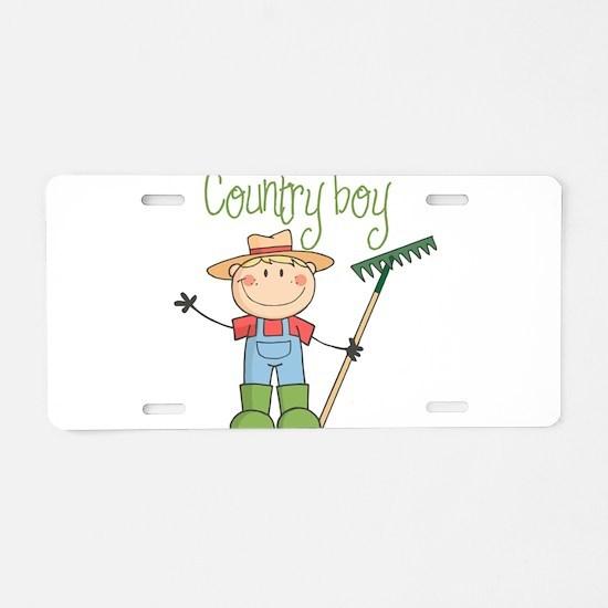 Country Boy Farmer Aluminum License Plate