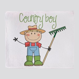 Country Boy Farmer Throw Blanket