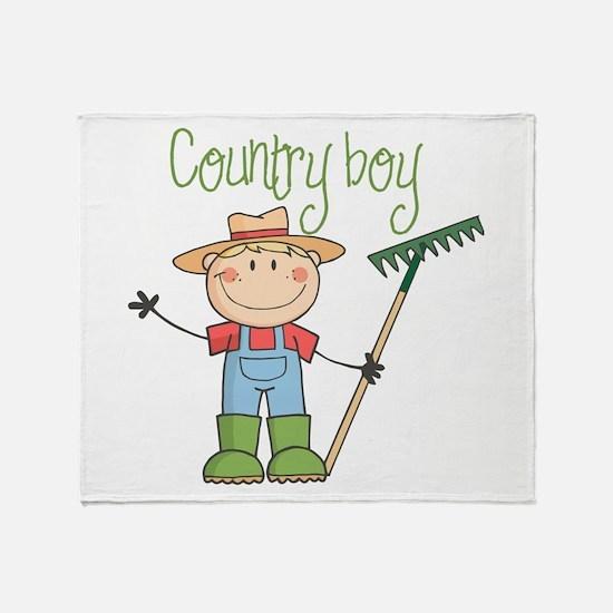 Country Boy Farmer Throw Blanket