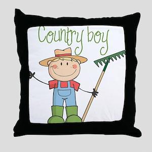 Country Boy Farmer Throw Pillow