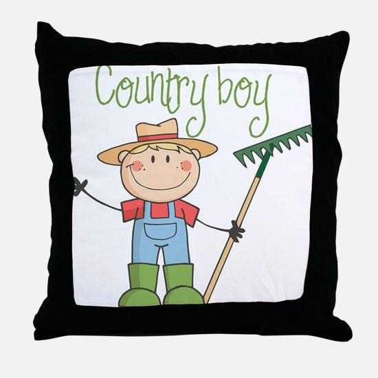 Country Boy Farmer Throw Pillow