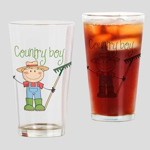 Country Boy Farmer Drinking Glass