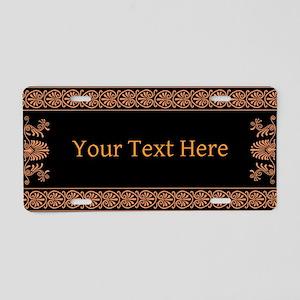 Black and Orange Greek Design Aluminum License Pla
