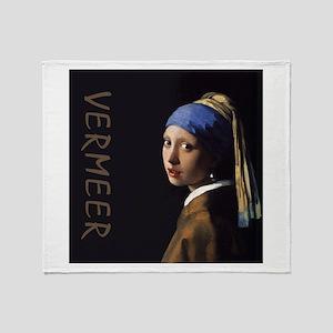 Johannes Vermeer Pearl Earring Throw Blanket