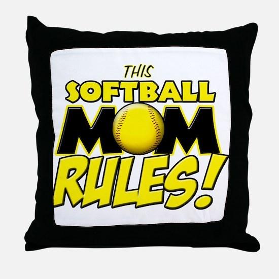 This Softball Mom Rules Throw Pillow
