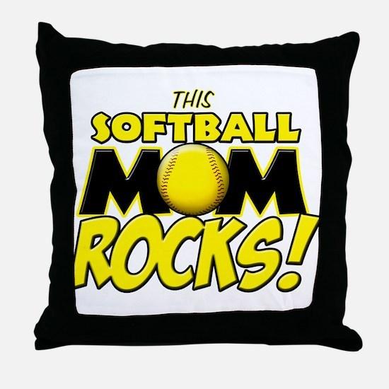 This Softball Mom Rocks Throw Pillow
