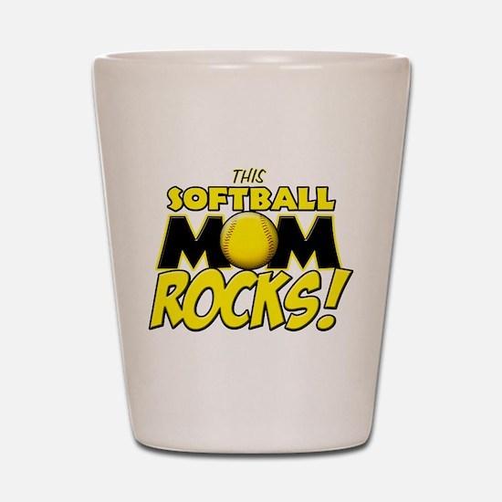 This Softball Mom Rocks Shot Glass