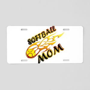 Softball Mom (flame) Aluminum License Plate