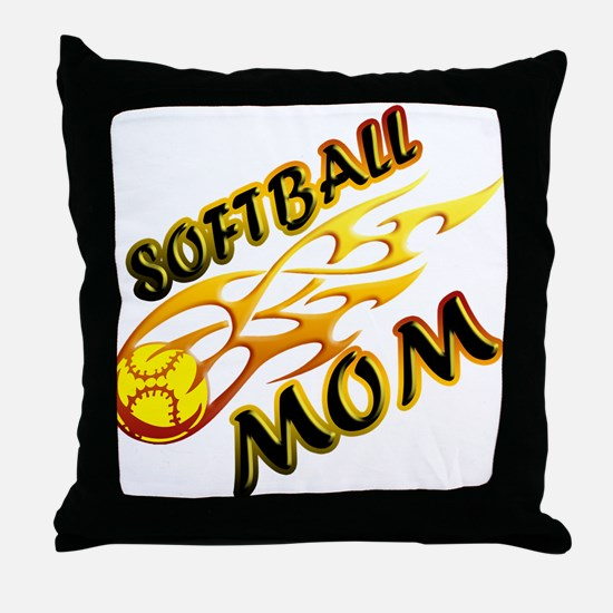 Softball Mom (flame) Throw Pillow