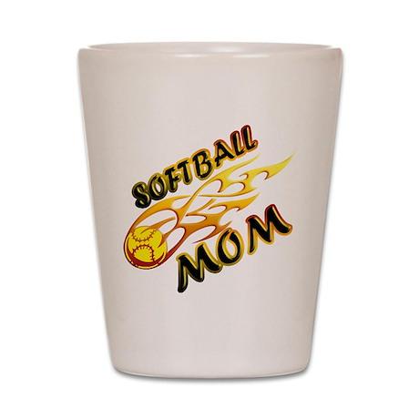 Softball Mom (flame) Shot Glass