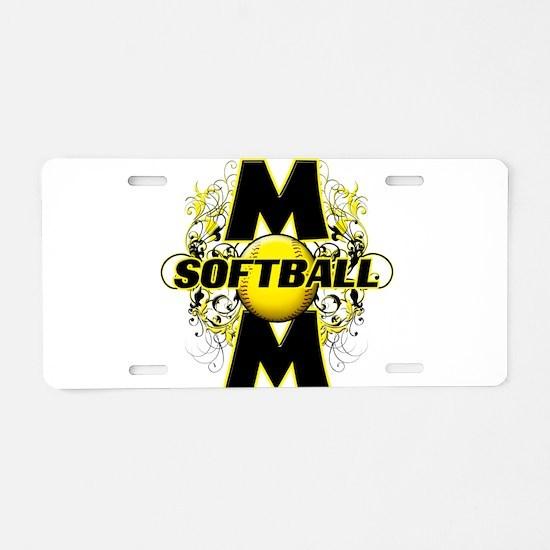 Softball Mom (cross) Aluminum License Plate