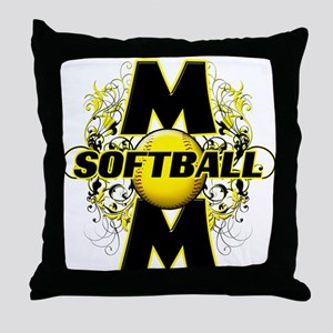 Softball Mom (cross) Throw Pillow