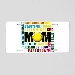A Softball Mom Aluminum License Plate
