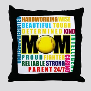 A Softball Mom Throw Pillow