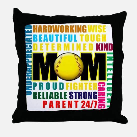 A Softball Mom Throw Pillow