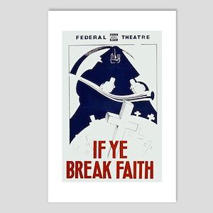 If Ye Break Faith WPA Poster Postcards (Package of