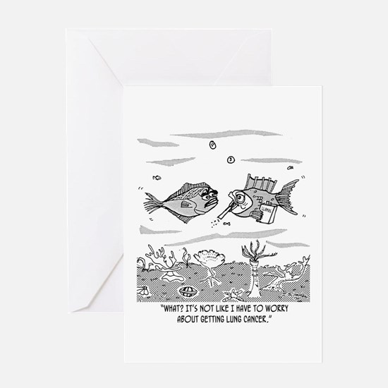 Fish Worries About Lung Cancer Greeting Card