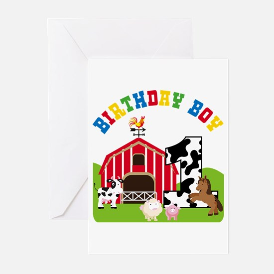 Barnyard 1st Birthday Greeting Cards