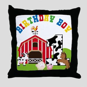 Barnyard 1st Birthday Throw Pillow
