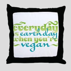 Vegan Earth Day Throw Pillow