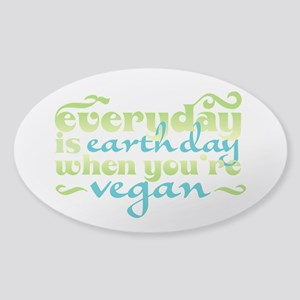 Vegan Earth Day Sticker (Oval)