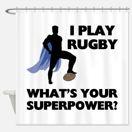 Rugby Superhero Shower Curtain
