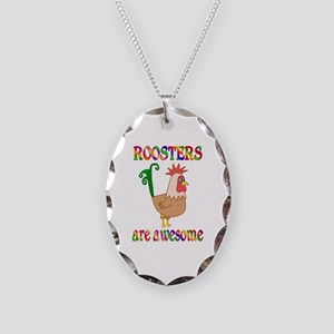 Awesome Roosters Necklace Oval Charm