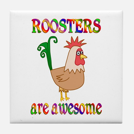Awesome Roosters Tile Coaster