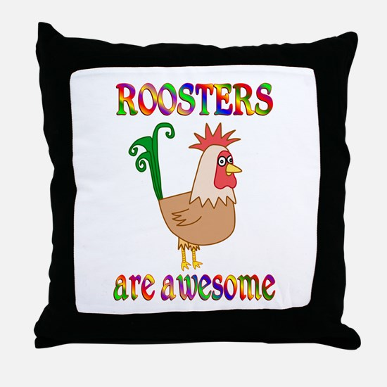 Awesome Roosters Throw Pillow