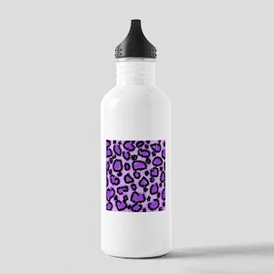 Purple Leopard Print Pattern Stainless Water Bottl