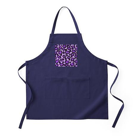 Purple Leopard Print Pattern Apron (dark)