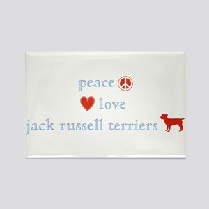 Peace, Love & Jack Russell Terrier Rectangle Magne