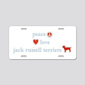 Peace, Love & Jack Russell Terrier Aluminum Licens