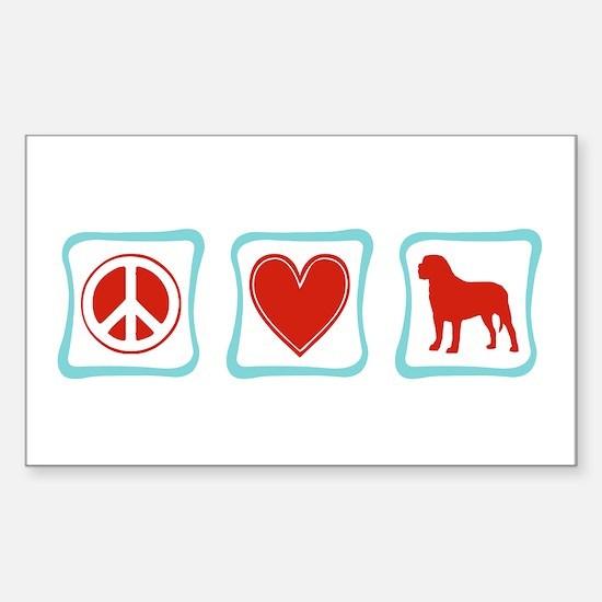 Peace, Love and Mastiffs Sticker (Rectangle)