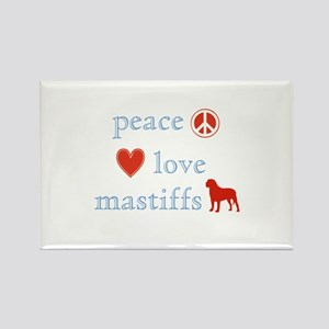 Peace, Love and Mastiffs Rectangle Magnet