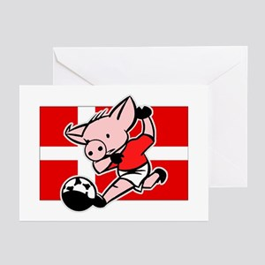 Denmark Soccer Pigs Greeting Cards (Pk of 10)