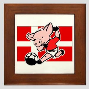 Denmark Soccer Pigs Framed Tile