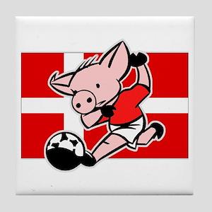 Denmark Soccer Pigs Tile Coaster