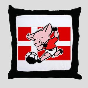 Denmark Soccer Pigs Throw Pillow