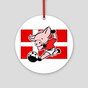 Denmark Soccer Pigs Ornament (Round)